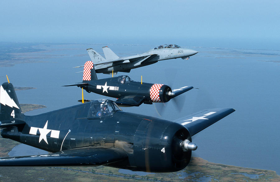 Tomcat Photograph - Us Navy Lagacy Flight  by John Clark