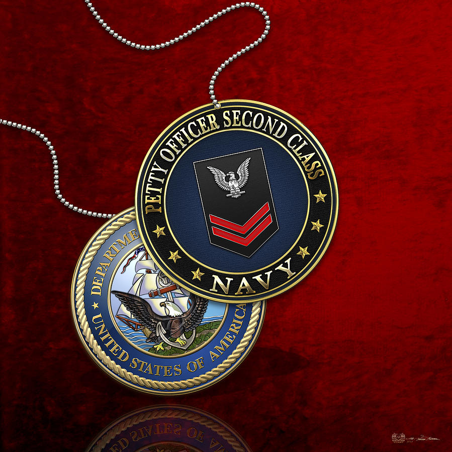 Us navy petty officer second class po2 rank insignia over red military digital art us navy petty officer second class po2 rank insignia over red biocorpaavc