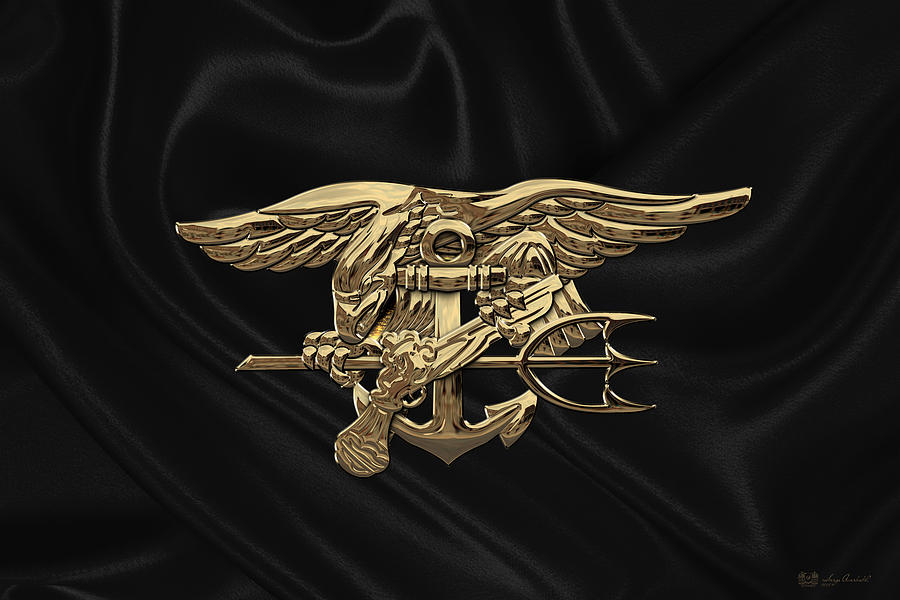 us navy seals trident over black flag digital art by