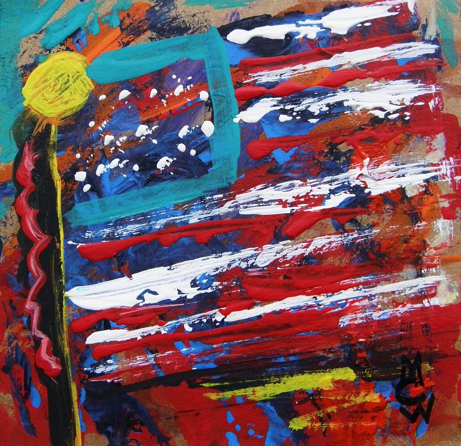 Acrylic Painting - Us Of A by Mary Carol Williams