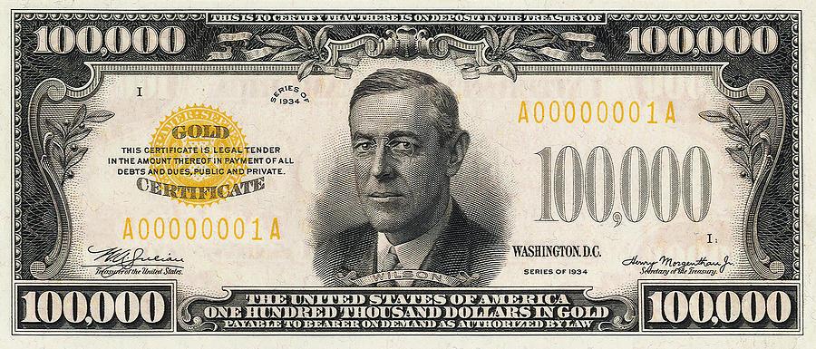 New 10000 Dollar Bill U.s. One Hundre...