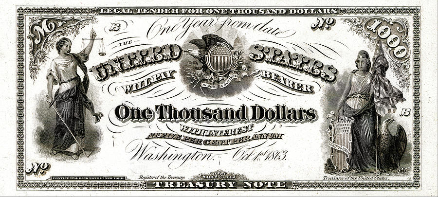 Money Digital Art - U.s. One Thousand Dollar Bill - 1863 $1000 Usd Treasury  Note by