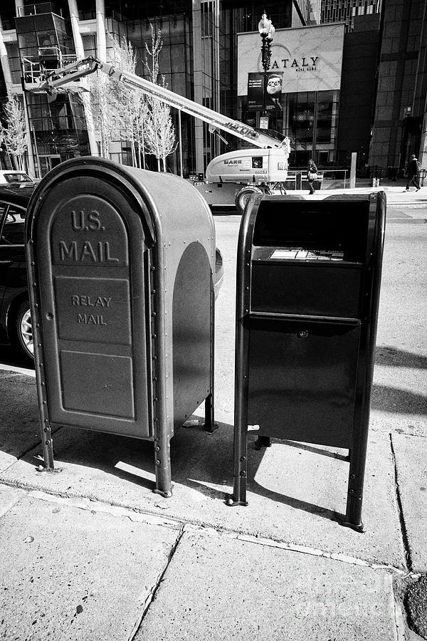 us postal service blue mailbox dropbox and grey relay mail box on sidewalk  Boston USA by Joe Fox