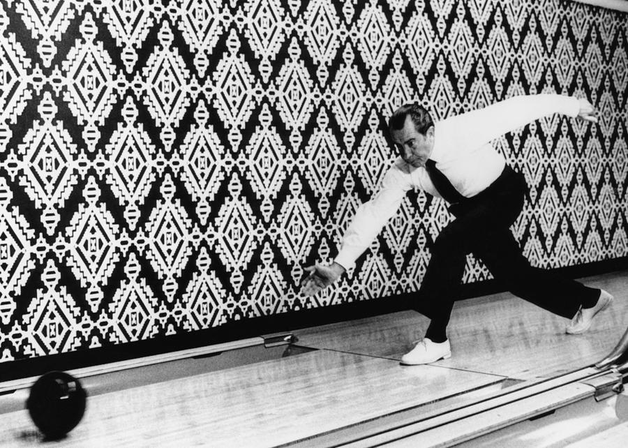 1970s Photograph - U.s. President Richard Nixon, Bowling by Everett