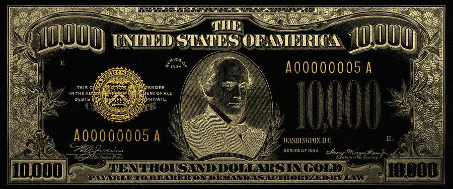New 10000 Dollar Bill U.s. Ten Thousa...