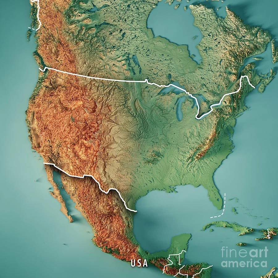 Usa 3d Render Topographic Map Border