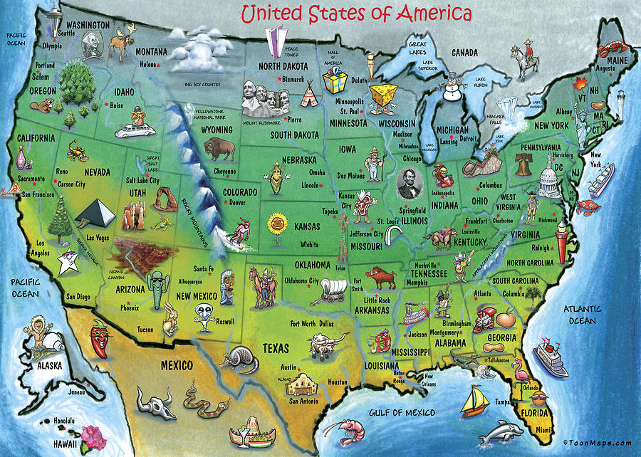 Map Painting - Usa Cartoon Map by Kevin Middleton