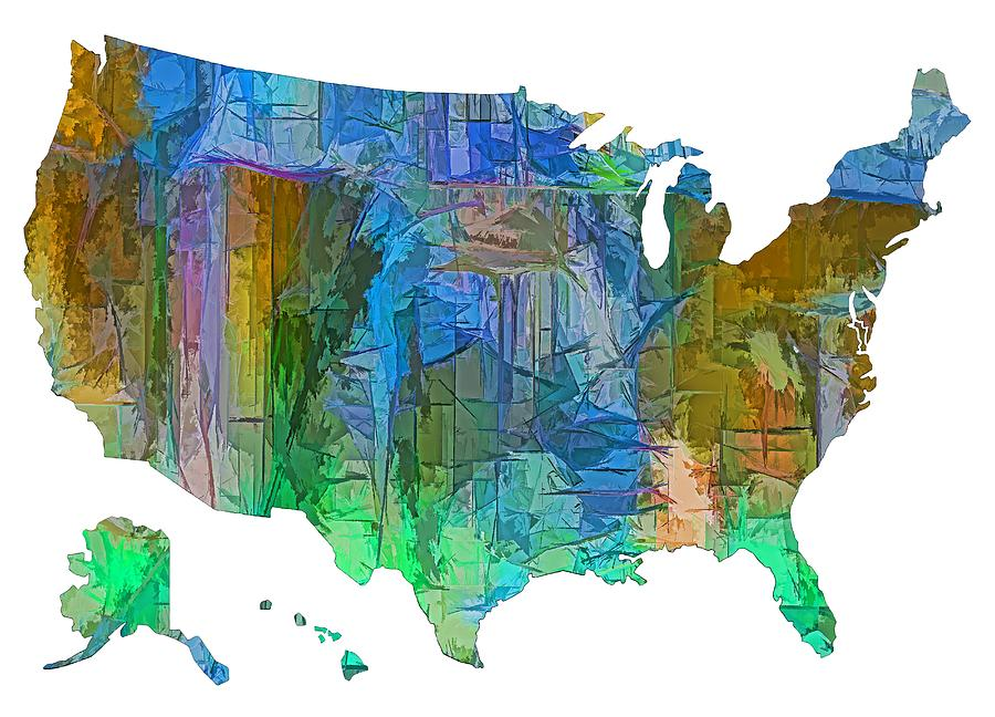 Colorful Map Of Usa.Usa Colorful Map Digital Art By Olena Art Brand