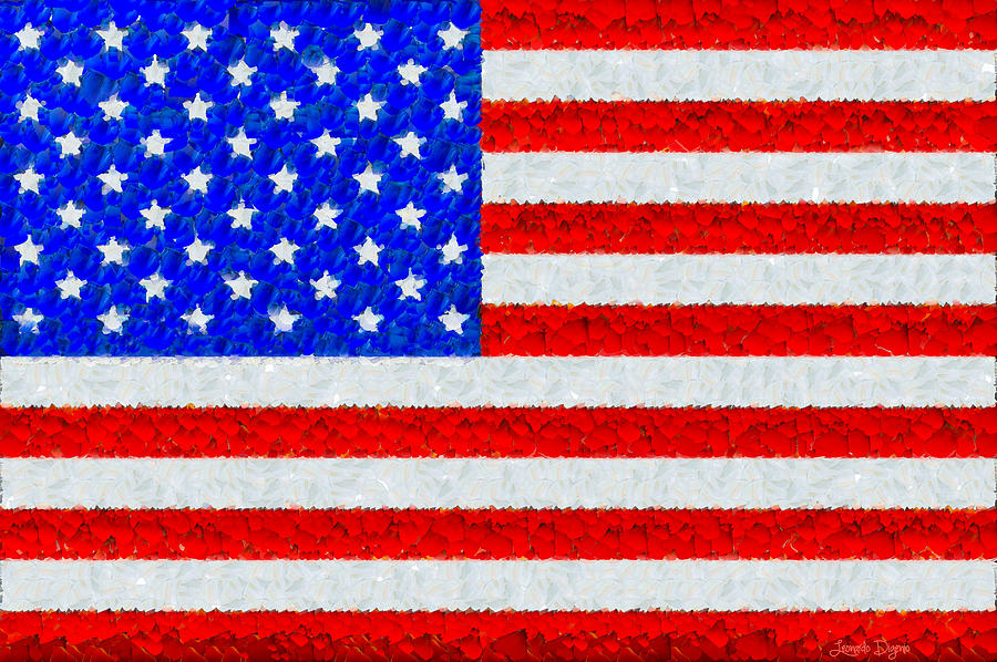 Usa Flag  - Palette Knife Style -  - Pa Painting