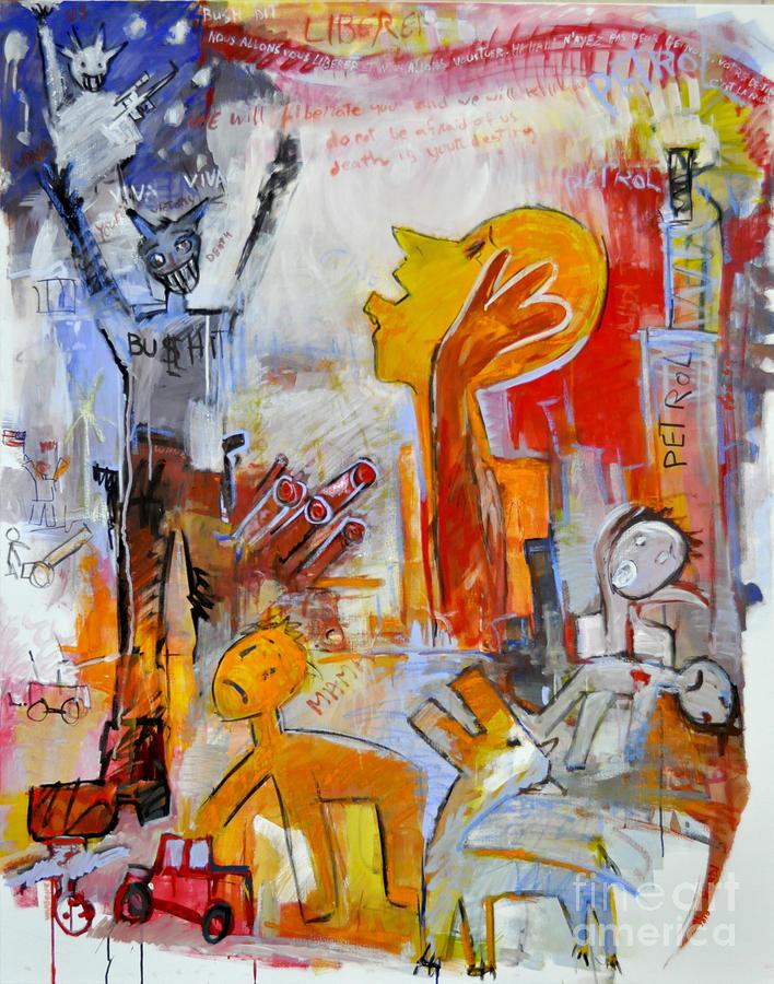 Iraq War Painting Painting - U.s.a  Liberate by Mohammed Al kurdi