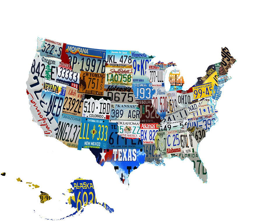 License Plate Digital Art - Usa License Plates Map 4p by Brian Reaves