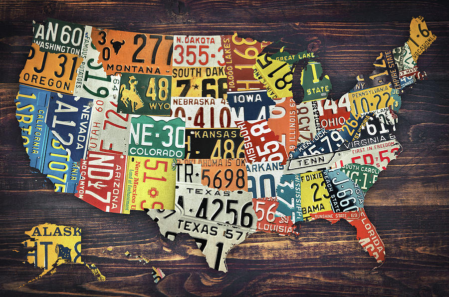 License Plate Map Of The United States Digital Art by Zapista