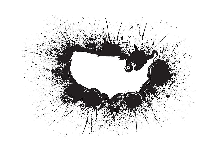 Usa Map Outline Grunge Ink Splatter Ilration Pograph By Jit Lim