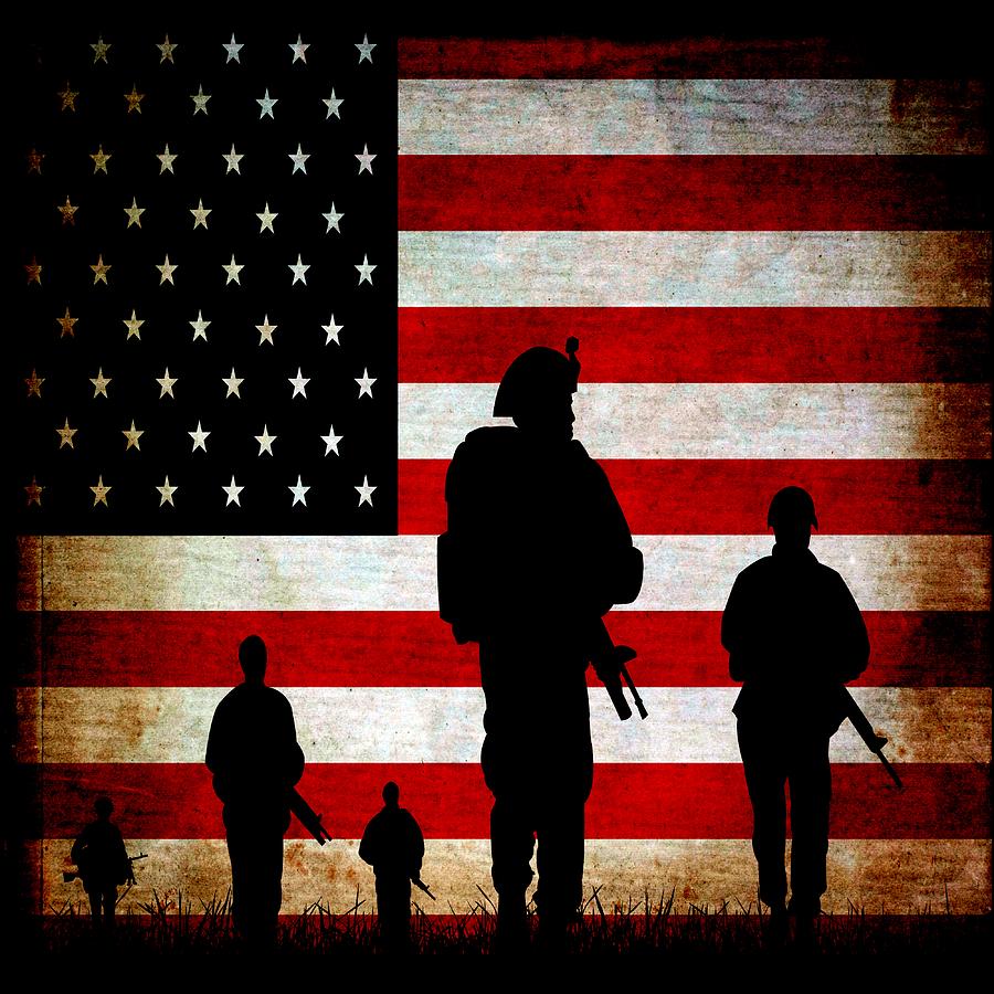 Usa Military Mixed Media - Usa Military by Angelina Vick