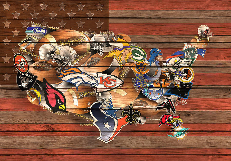 Usa Nfl Map Collage Painting By Bekim Art - Us map collage
