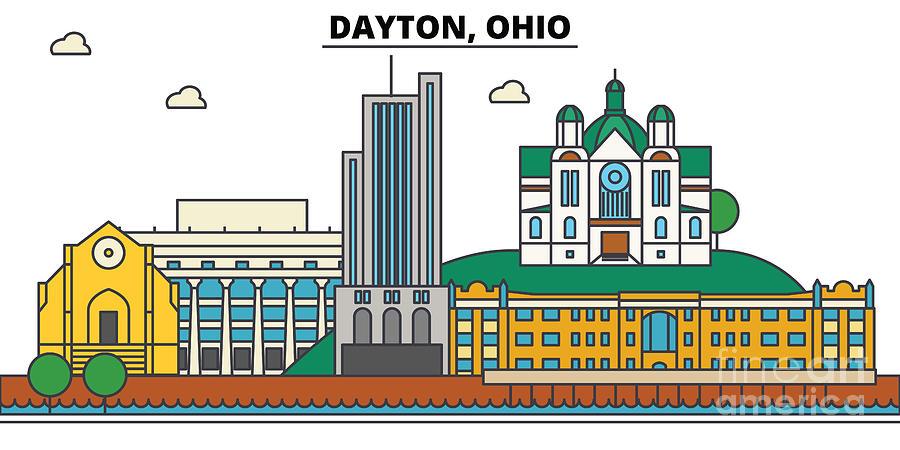 Usa, Ohio, Dayton Skyline city Illustration With Best Famous Landmarks   Line Art Style Silhouette Cityscape  Urban Retro Design