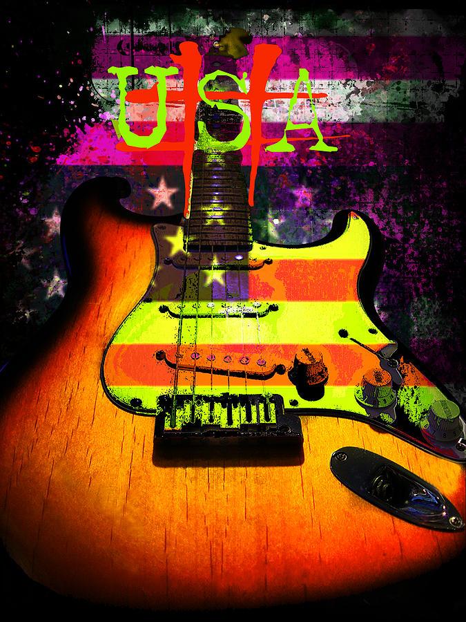 Strat Photograph - Usa Strat Guitar Music by Guitar Wacky