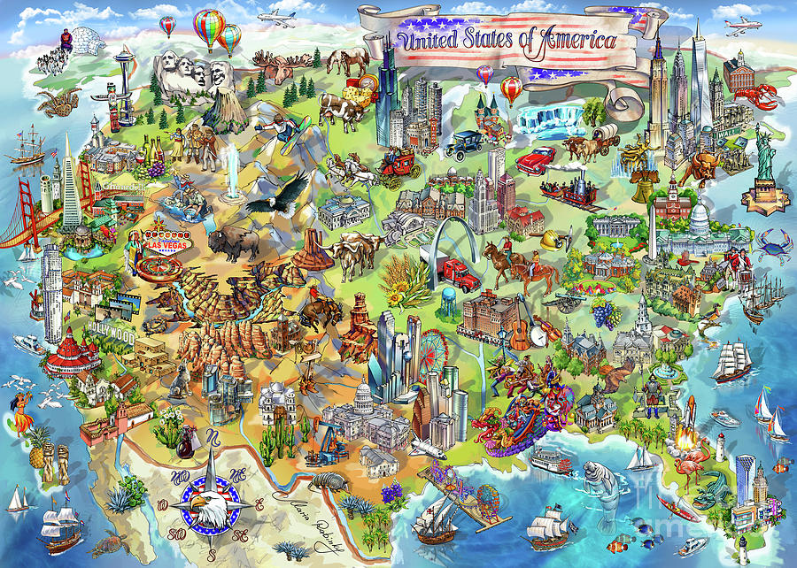 Los Angeles Painting - Usa Wonders Map Illustration by Maria Rabinky