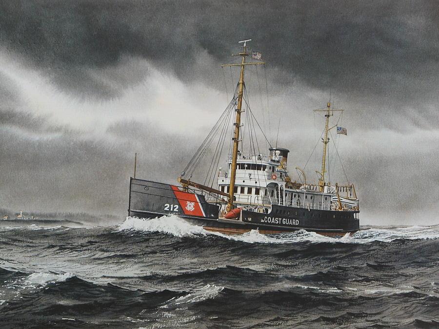 U.s. Coast Guard Painting - Uscg Buoy Tender - Fir by Steve Mayo