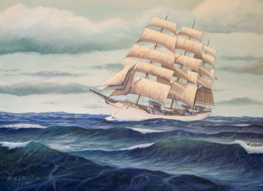Tall Ships Painting - USCG Danmark by William Ravell