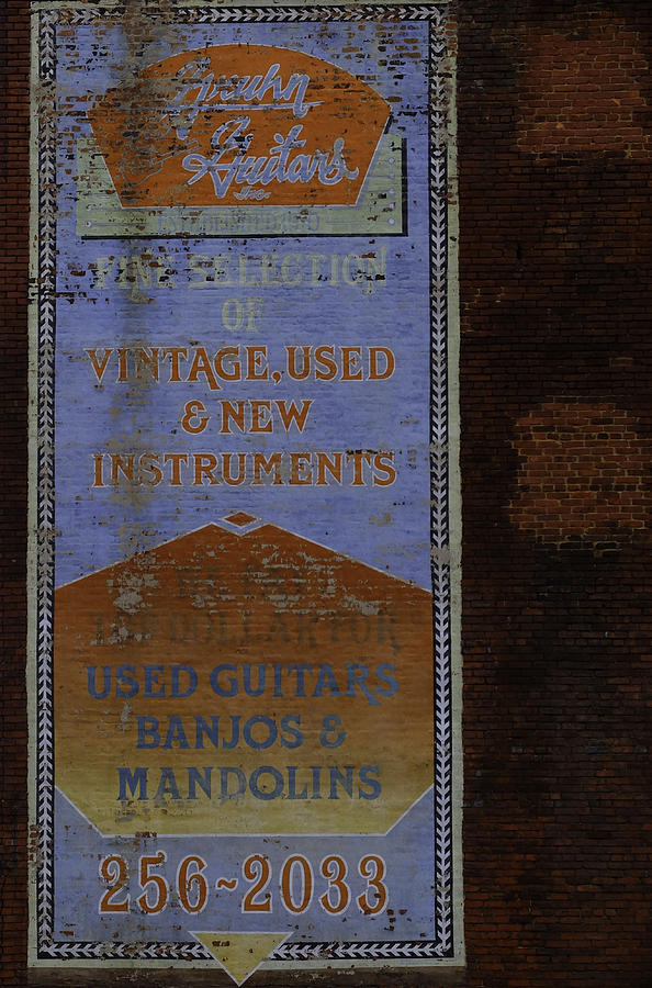 Sign Photograph - Used Guitars by Kelly E Schultz