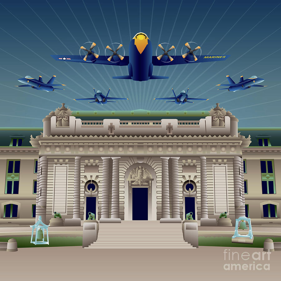 Usna Digital Art - USNA Bancroft Hall Blue Angels Show by Joe Barsin