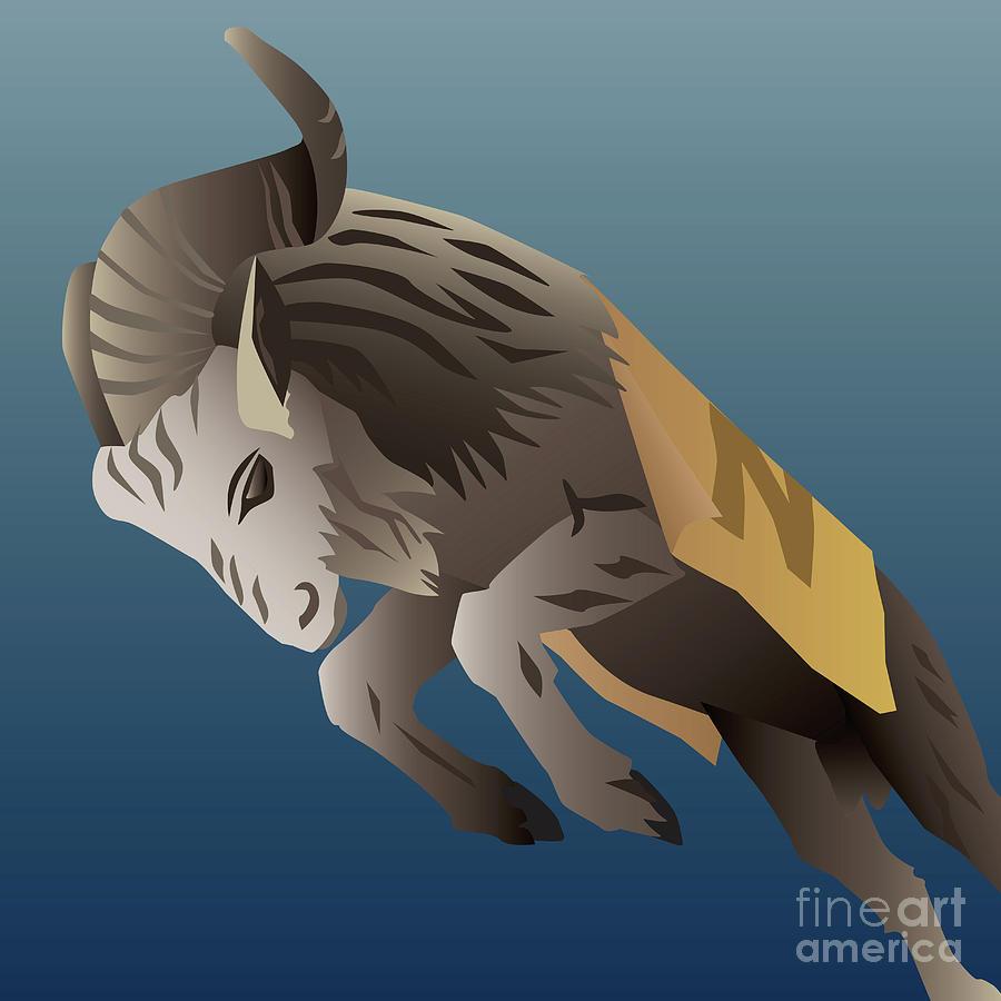 Usna Digital Art - USNA Bill the Goat Mascot by Joe Barsin