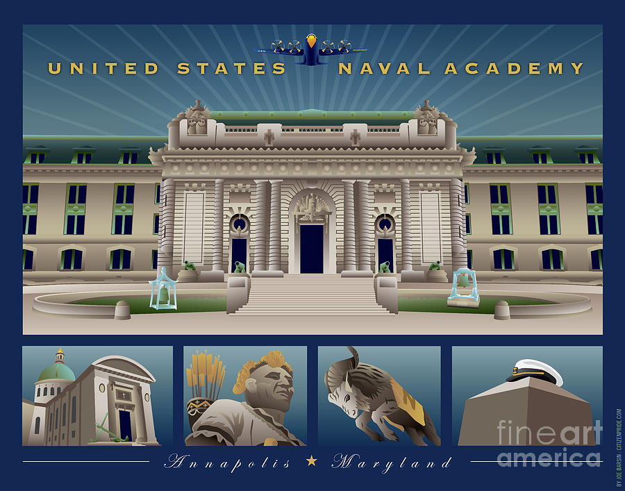 Usna Digital Art - USNA Monuments Tribute 1 by Joe Barsin