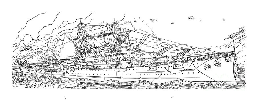 Battleship Drawing - Uss Arizona by Stephen Carcello