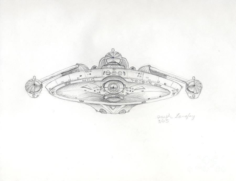Star Trek Drawing - Uss Bering Sea Front View by Joseph A Langley