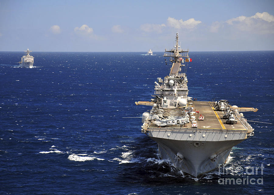 Transit Photograph - Uss Boxer Leads A Convoy Of Ships by Stocktrek Images