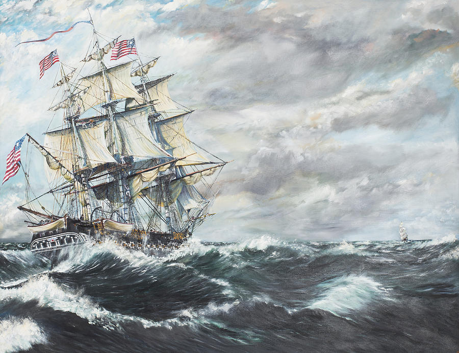 Uss Constitution Painting - Uss Constitution Heads For Hm Frigate Guerriere by Vincent Alexander Booth