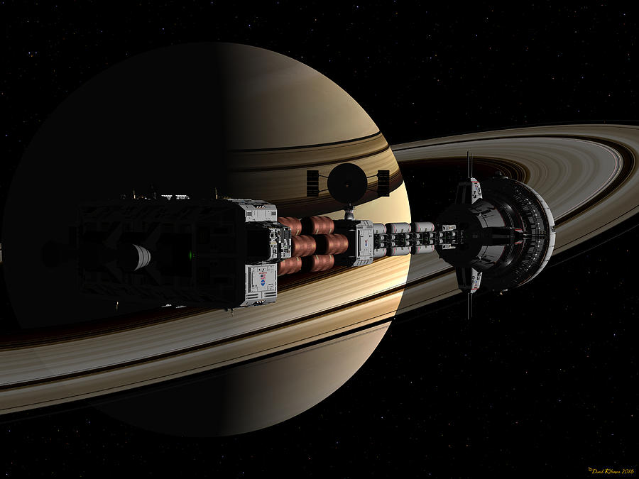 USS Cumberland passing ringed giant by David Robinson