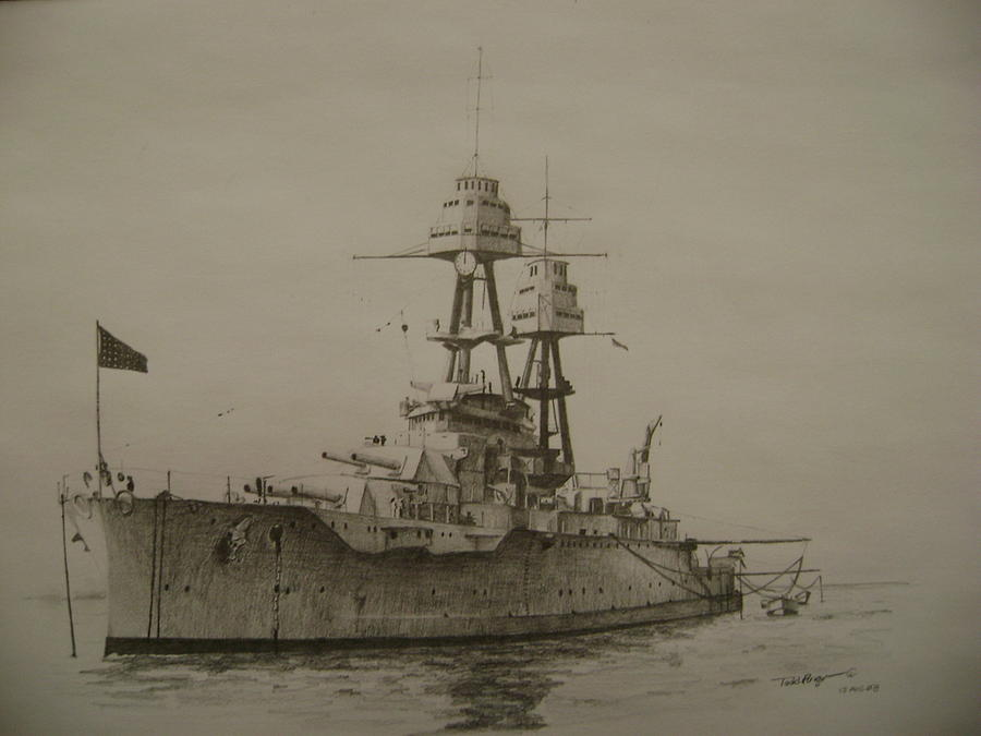Naval Ships Drawing - Uss Oklahoma by Todd Pengelly