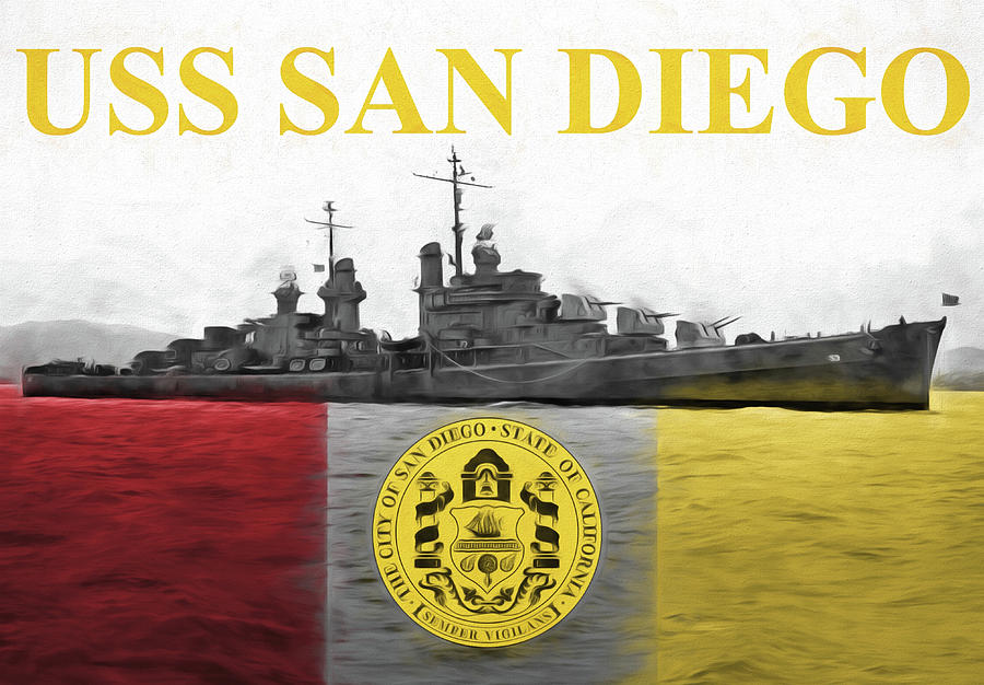 Uss San Diego Digital Art - Uss San Diego by JC Findley