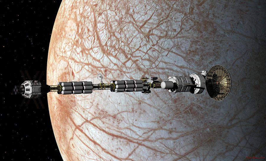 USS Savannah entering orbit around Europa by David Robinson