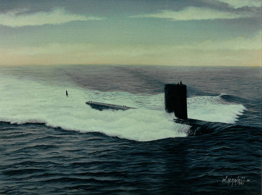 Submarine Painting - Uss Topeka by William H RaVell III