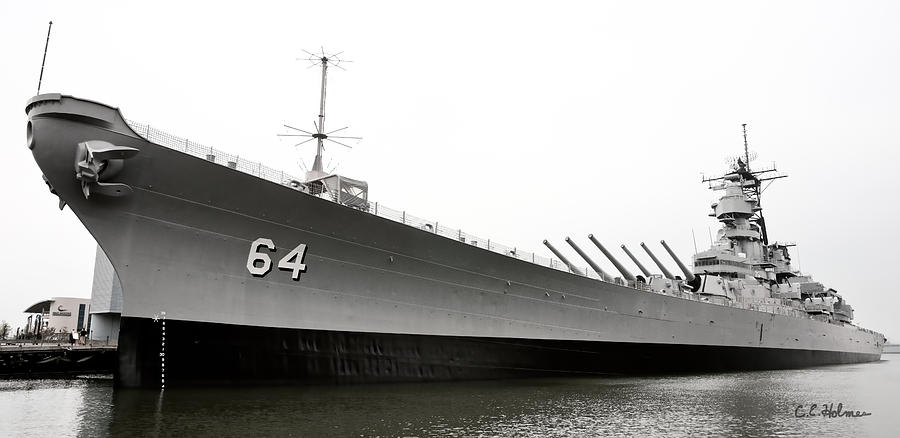 Ship Photograph - Uss Wisconsin - Port-side by Christopher Holmes