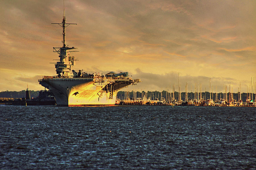 USS Yorktown CV10 harbor by E Karl Braun