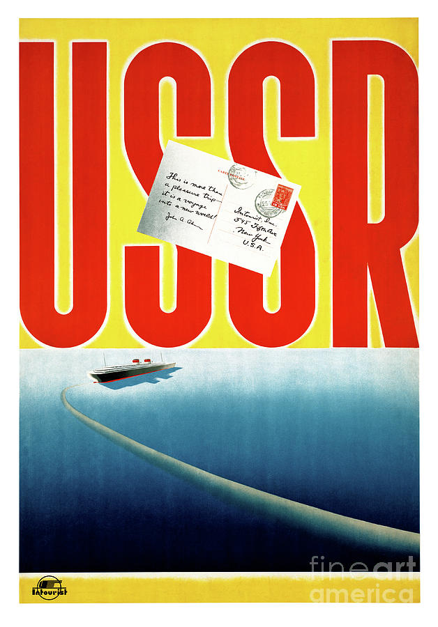 Travel Mixed Media - Ussr Vintage Cruise Travel Poster Restored by Vintage Treasure