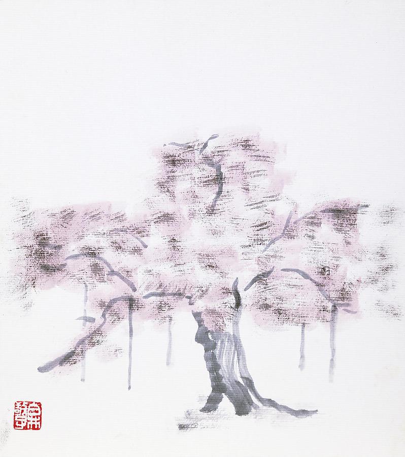 Japanese Painting Painting - Usuzumi - Zakura Cherry Tree by Keiko Shirai