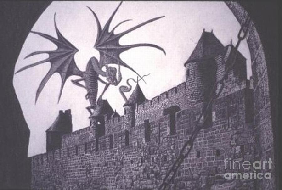 Dragon Drawing - Ut-oh by Dan Hausel