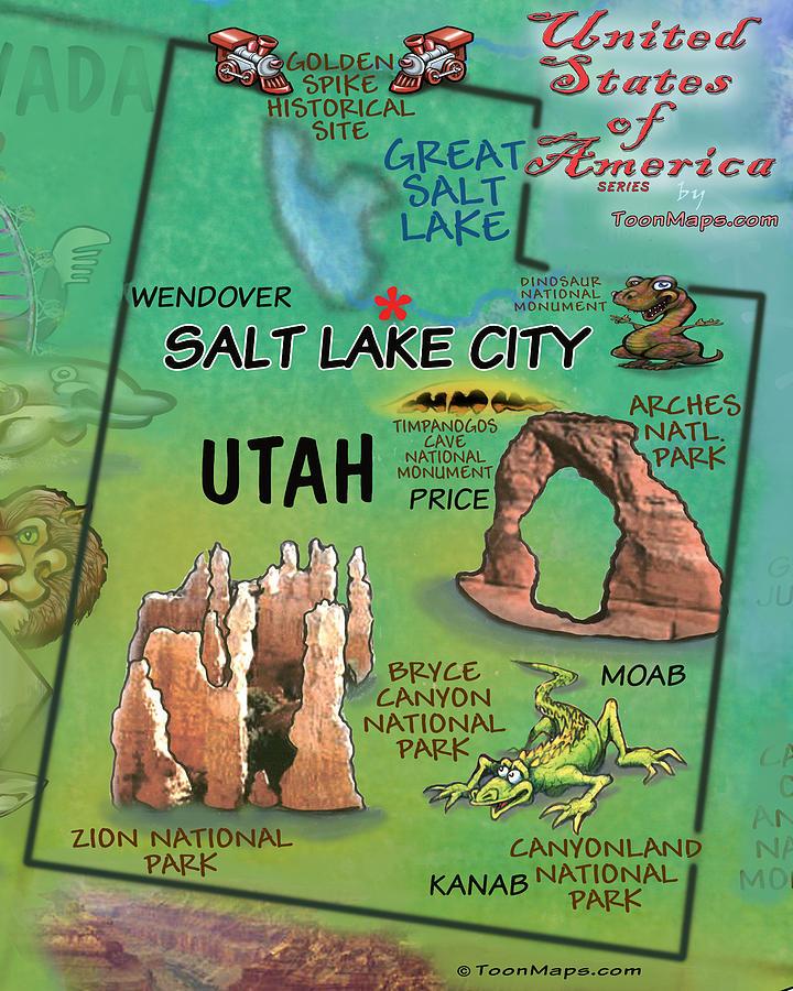 Utah Fun Map Digital Art