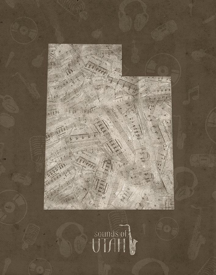 Utah Map Music Notes 3 Digital Art