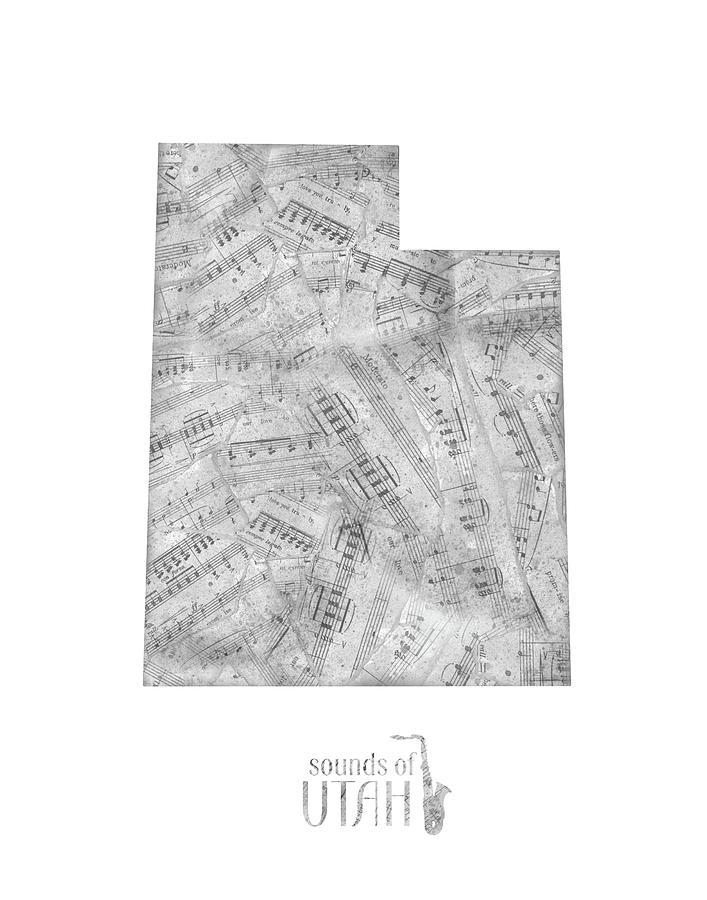 Utah Map Music Notes Digital Art