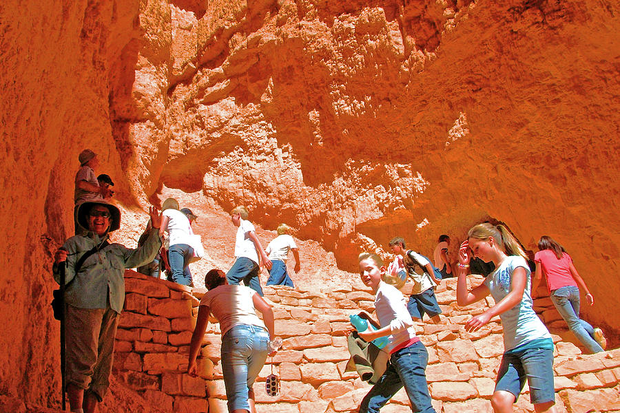 Utah Photograph - Utah Seventh Graders Climb Up Switchbacks On Wall Street On Navajo Trail In Bryce Canyon National Pa by Ruth Hager