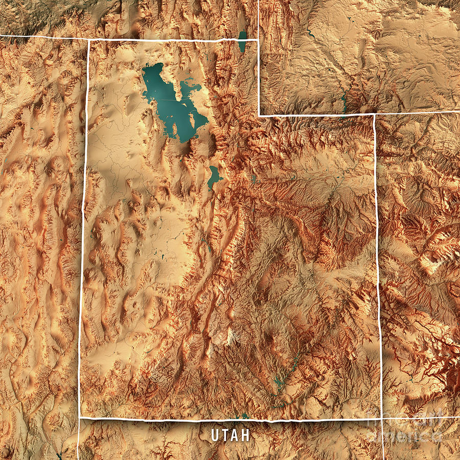 Utah State Usa 3d Render Topographic Map Border