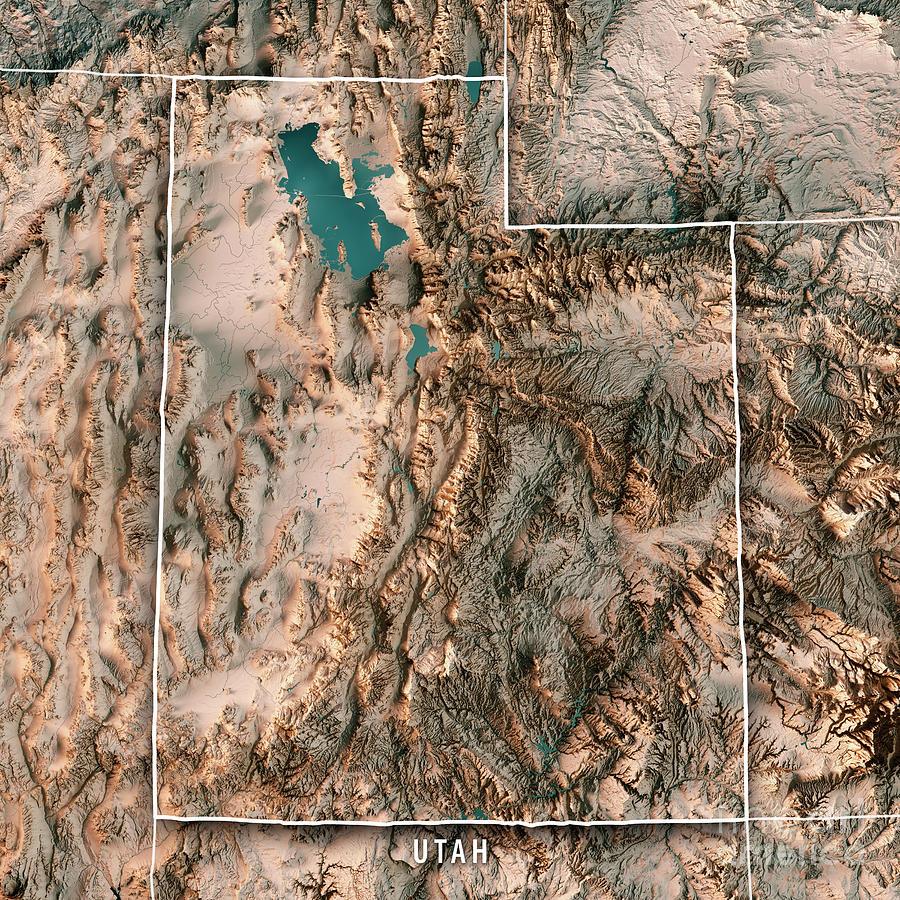 Utah State Usa 3d Render Topographic Map Neutral Border Digital