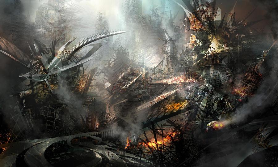 Philip Straub Painting - Utherworlds Ashes by Philip Straub