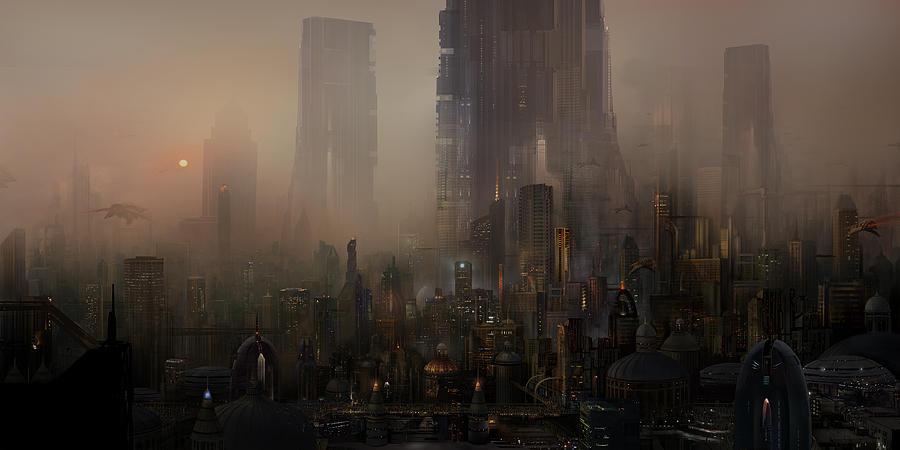 Future City Painting - Utherworlds Cohabitations by Philip Straub